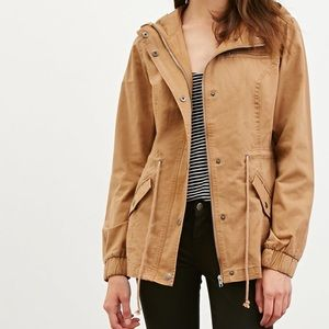 Forever21 | Tan Hooded drawstring utility jacket